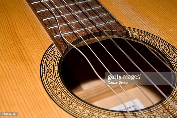 A guitar with a broken string