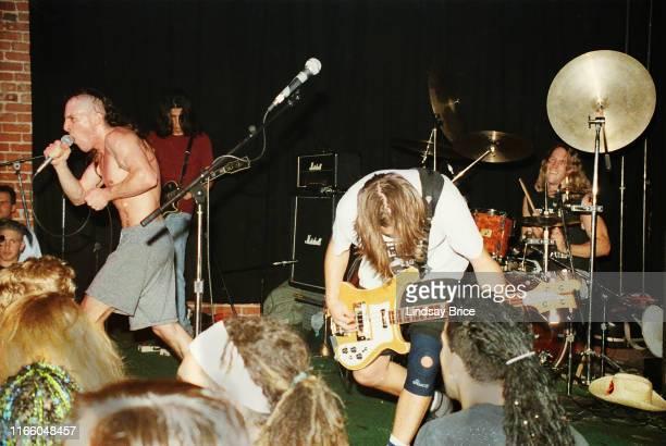 Guitarist Adam Jones vocalist Maynard James Keenan drummer Danny Carey and bassist Paul D'Amour perform in Tool at Club Lingerie in Hollywood on June...