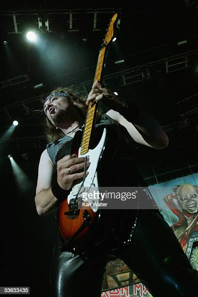 Guitarist Adrian Smith of Iron Maiden performs at Ozzfest 2005 at the Hyundai Pavilion on August 20 2005 in San Bernandino California
