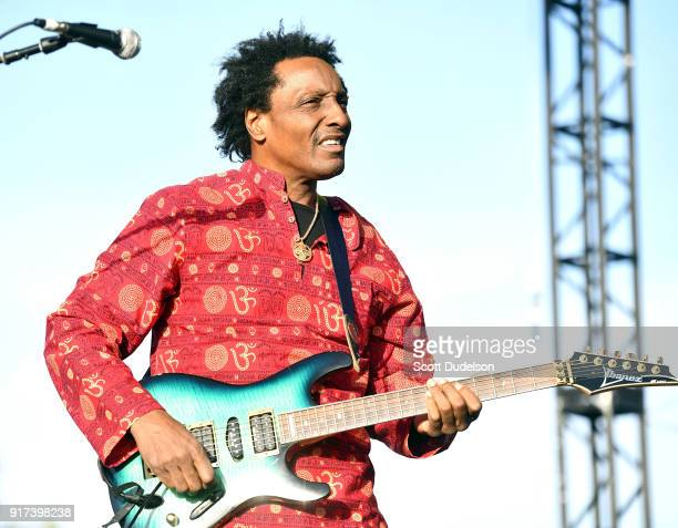 Guitarist Al Anderson formerly of Bob Marley The Wailers performs onstage with The Original Wailers during day 2 of the One Love Cali Festival at The...
