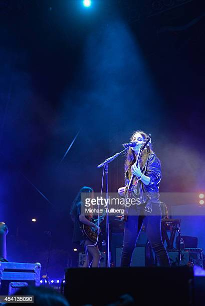 Guitarist Alana Haim and singer/guitarist Danielle Haim of HAIM perform during Day 2 of FYF Fest 2014 at LA Sports Arena Exposition Park on August 24...