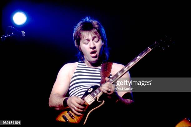 Guitarist Aldo Nova performs at the Aragon Ballroom in Chicago Illinois April 9 1982