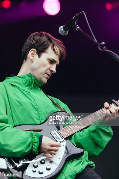 Guitarist Alec O'Hanley of Alvvays performs onstage during day 3 of 2018 Boston Calling Music Festival at Harvard Athletic Complex on May 27 2018 in...