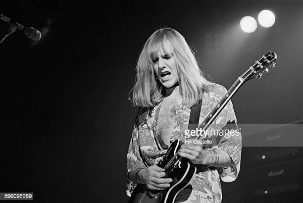 Guitarist Alex Lifeson performing with Canadian progressive rock group Rush at the Civic Center in Springfield Massachusetts during the band's All...
