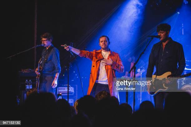 Guitarist Alex Robertshaw singer Jonathan Higgs and bass player Jeremy Pritchard of the English band Everything Everything performs live on stage...