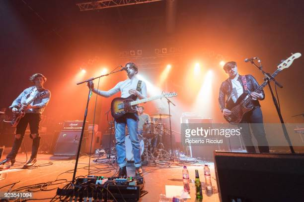 Guitarist Alex Ruggiero singer and guitarist Jake Daniels drummer Brian Moroney and bassist Jamie Reynolds of Airways perform on stage at O2 ABC...
