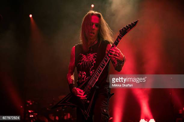 Guitarist Alexi Laiho of Children of Bodom performs at The Regency Ballroom on December 5 2016 in San Francisco California