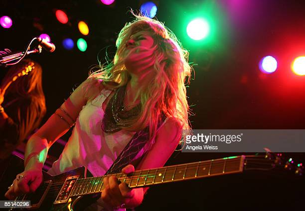Guitarist Allison Robertson of the Chelsea Girls performs at The Roxy on February 26 2009 in West Hollywood California