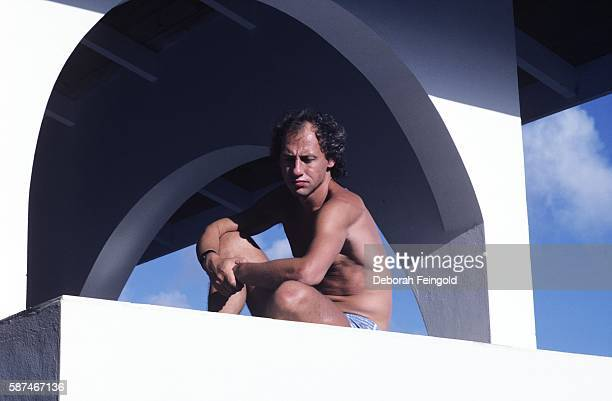 Guitarist and band leader of Dire Straits Mark Knopfler photographed in December 1984 on Montserrat