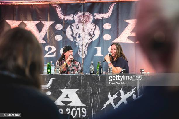 Guitarist and founder of the band Iced Earth Jon Schaffer and Wacken founder Thomas Jensen at the press conference during the Wacken Open Air...