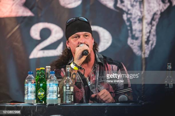Guitarist and founder of the band Iced Earth Jon Schaffer at the press conference during the Wacken Open Air festival on August 4 2018 in Wacken...