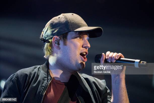 Guitarist and lead vocalist Patrick Stump performs with Fall Out Boy during the Kiss 108 Jingle Ball concert at TD Garden in Boston on Dec 10 2017