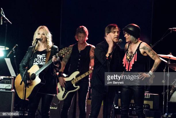 Guitarist and singer Nancy Wilson bassist Duff McKagan and singer/songwriter Star Anna perform live on stage during the MusiCares Concert for...