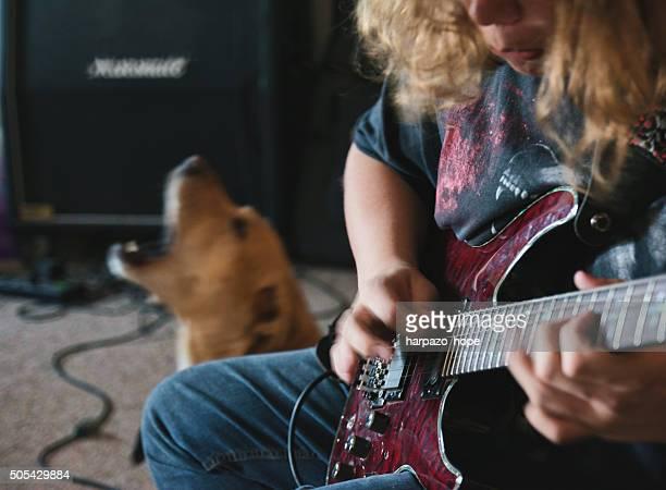 Guitarist and Singing Dog