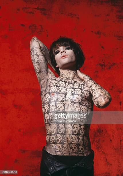 Guitarist and songwriter Richey James Edwards of Welsh rock group Manic Street Preachers 23rd September 1992 He is wearing a temporary tattoo of Andy...