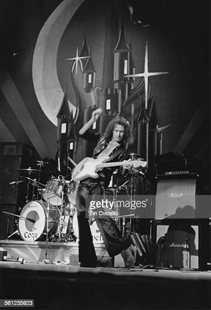 Guitarist and songwriter Ritchie Blackmore performing with British rock group Rainbow at the Ford Auditorium in Detroit Michigan 21st November 1975