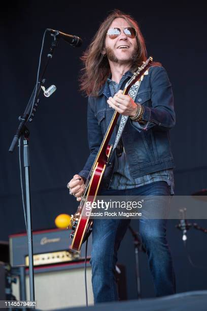 Guitarist and vocalist Charlie Starr of American rock group Blackberry Smoke performing live on stage during Ramblin' Man Fair at Mote Park in...