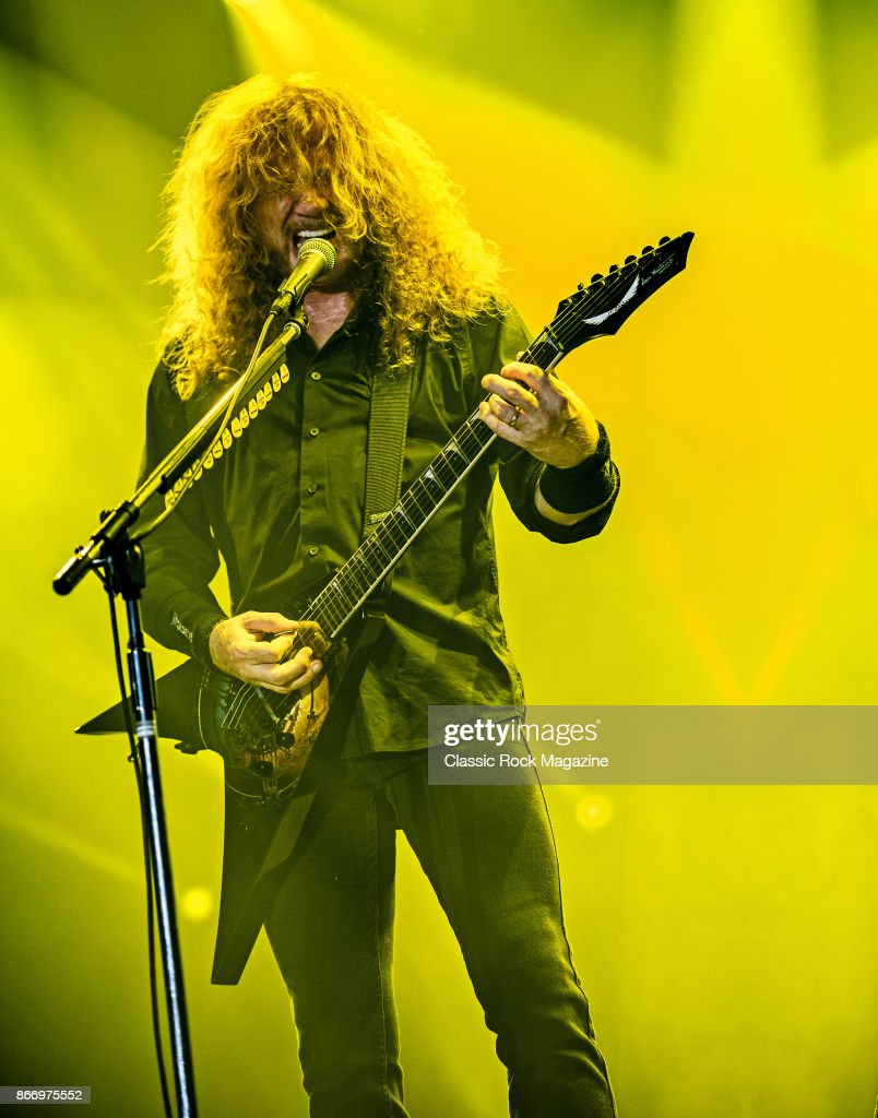 Guitarist and vocalist Dave Mustaine of American thrash metal group Megadeth performing live on stage at Bloodstock Open Air Festival in Derbyshire, on August 13, 2017.