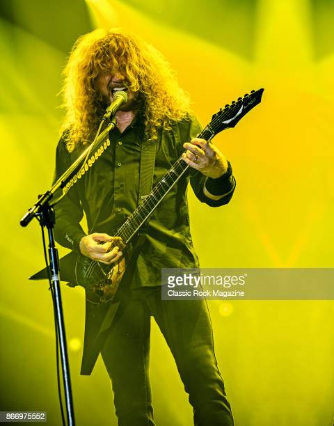 Guitarist and vocalist Dave Mustaine of American thrash metal group Megadeth performing live on stage at Bloodstock Open Air Festival in Derbyshire...