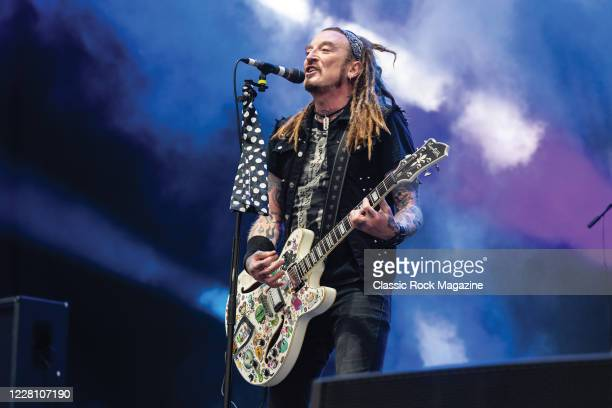 Guitarist and vocalist Ginger Wildheart of English hard rock group The Wildhearts performing live on stage during Ramblin Man Fair music festival at...