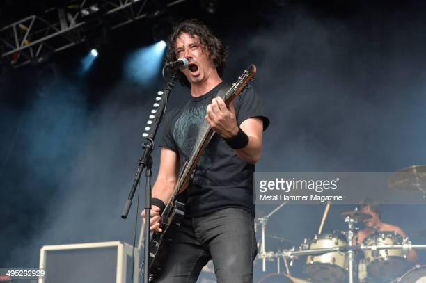 Guitarist and vocalist Joe Duplantier of French metal group Gojira performing live on stage at Bloodstock Open Air festival in Derbyshire England on...