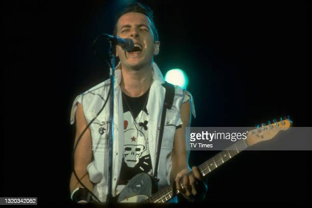 Guitarist and vocalist Joe Strummer of English punk rock group The Clash performing live on stage during US Festival at Glen Helen Regional Park in...