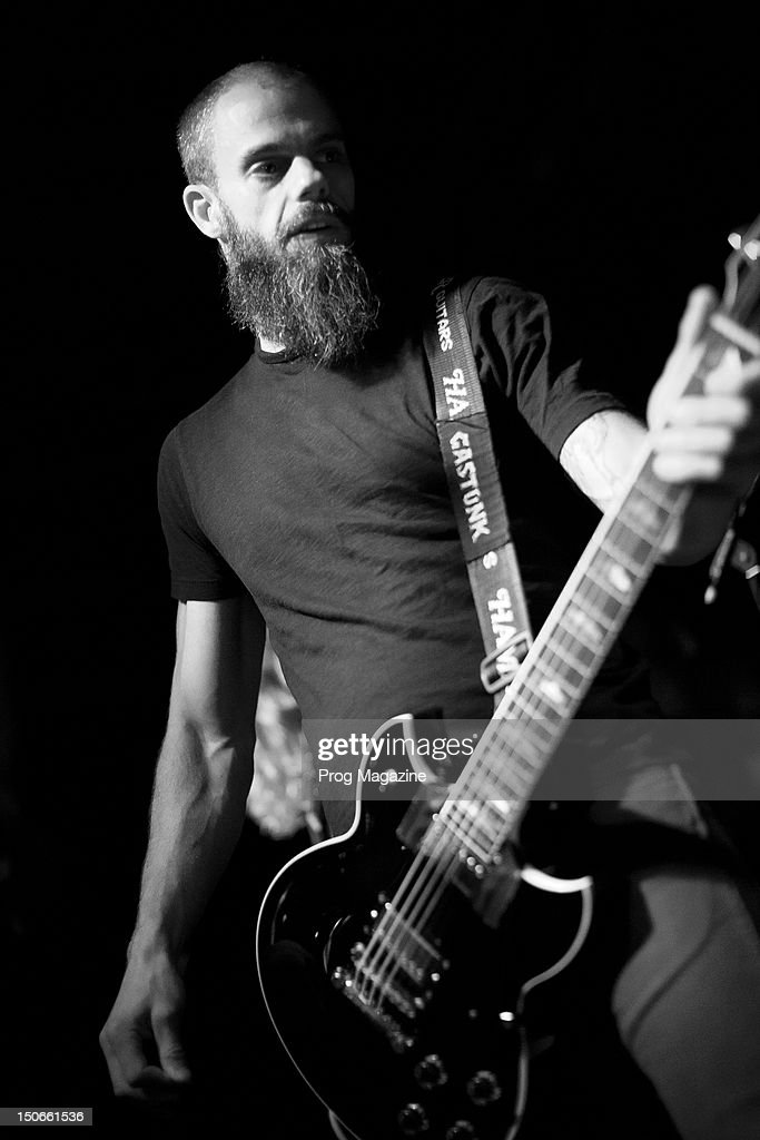 Image has been converted to black and white) BRISTOL, UNITED KINGDOM - AUGUST 14: Guitarist and vocalist John Dyer Baizley of American progressive metal group Baroness performing live on stage at The Fleece in Bristol, taken on August 14, 2012.