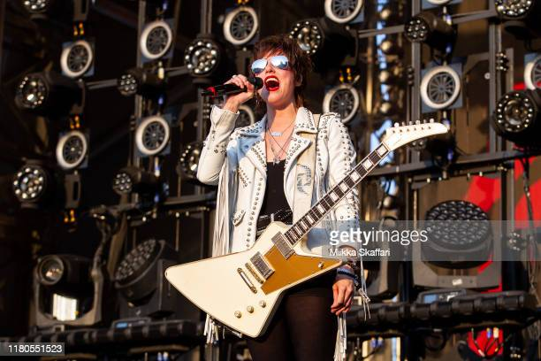 Guitarist and vocalist Lzzy Hale of Halestorm performs at 2019 Aftershock Festival at Discovery Park on October 11 2019 in Sacramento California