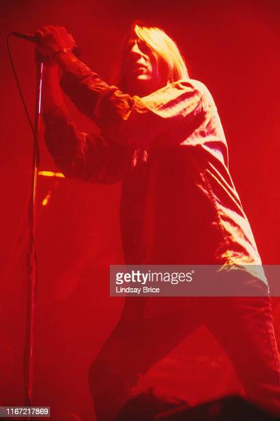 Guitarist and vocalist Mark Arm performs with bassist Matt Lukin guitarist Steve Turner and drummer Dan Peters in Mudhoney on September 26 1992 at...