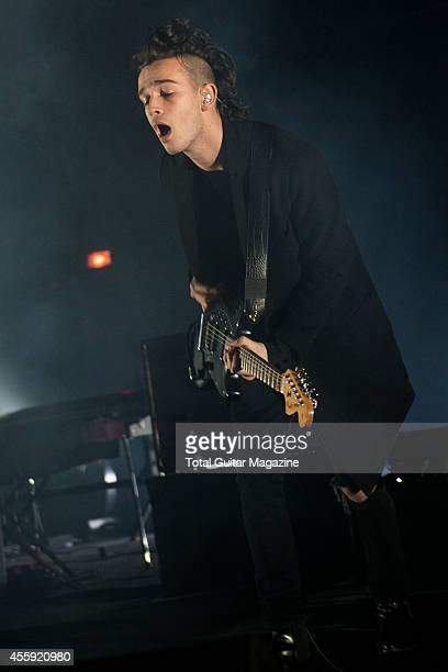 Guitarist and vocalist Matthew Healy of English indie rock group The 1975 performing live on stage at the O2 Academy in Brixton London on January 10...