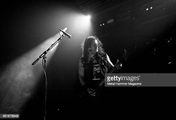 Guitarist and vocalist Miland Petrozza of German thrash metal group Kreator performing live on stage at Hammerfest music festival in Pwllheli Wales...