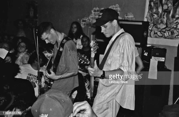 Guitarist and vocalist Page Hamilton bassist Henry Bogdan guitarist Peter Mengede and drummer John Stanier perform in Helmet at Jabberbaw on November...