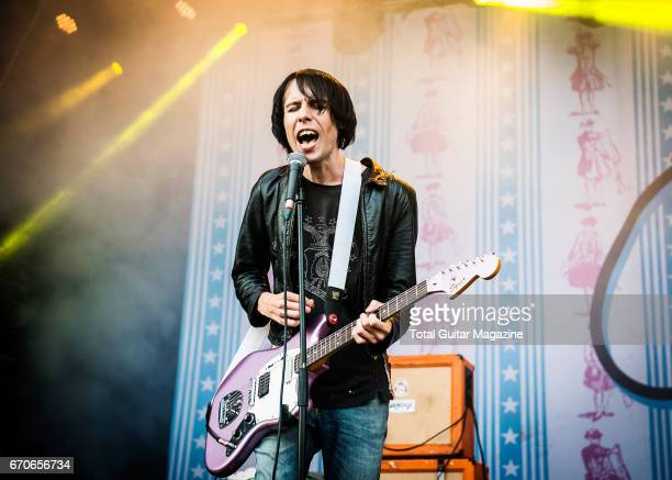 Guitarist and vocalist Ryan Jarman of English indie rock group The Cribs performing live on stage at Y Not Festival in Derbyshire, on July 29, 2016.