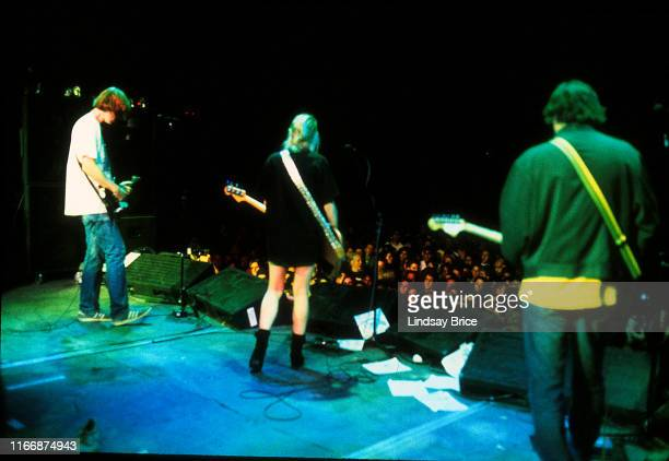 Guitarist and vocalist Thurston Moore bassist and vocalist Kim Gordon guitarist Lee Renaldo and drummer Steve Shelley perform in Sonic Youth on...