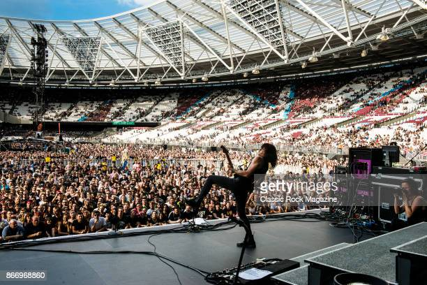 Guitarist and vocalist Tyler Bryant of American rock group Tyler Bryant And The Shakedown performing live on stage at London Stadium in London on...