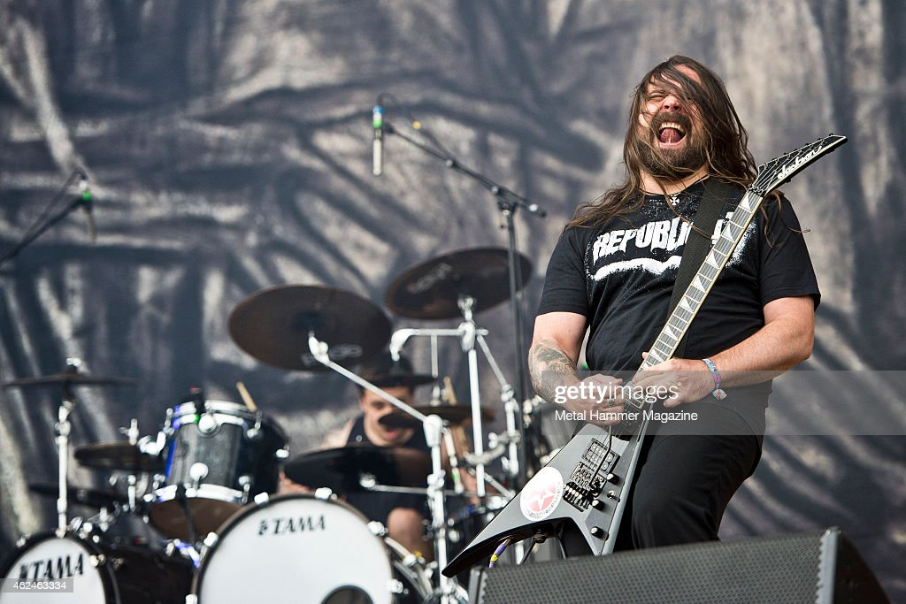 Guitarist Andreas Kisser of Brazilian metal group Sepultura performing live on the Zippo Encore Stage at Download Festival on June 15, 2014.
