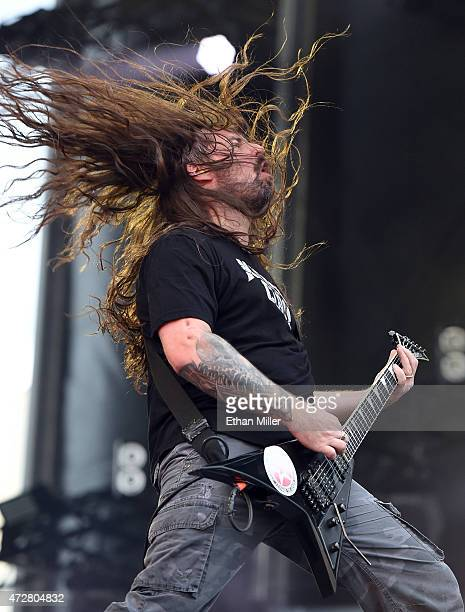 Guitarist Andreas Kisser of Sepultura performs onstage during Rock in Rio USA at the MGM Resorts Festival Grounds on May 9 2015 in Las Vegas Nevada