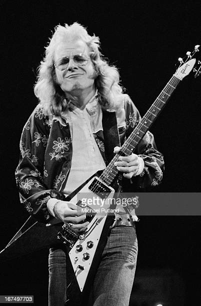 Guitarist Andy Powell performing with British rock group Wishbone Ash at the Rainbow Theatre London 11th January 1973
