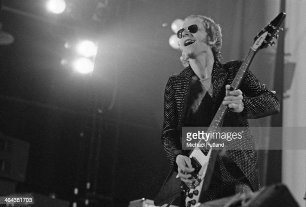 Guitarist Andy Powell performing with British rock group Wishbone Ash at Alexandra Palace London 22nd December 1973