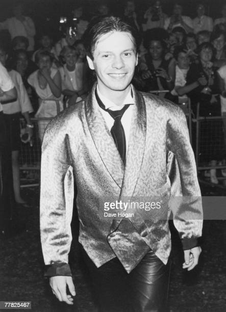 Guitarist Andy Taylor of English new romantic pop group Duran Duran arrives at the wedding of bandmate Nick Rhodes and Julie Anne Friedman London...