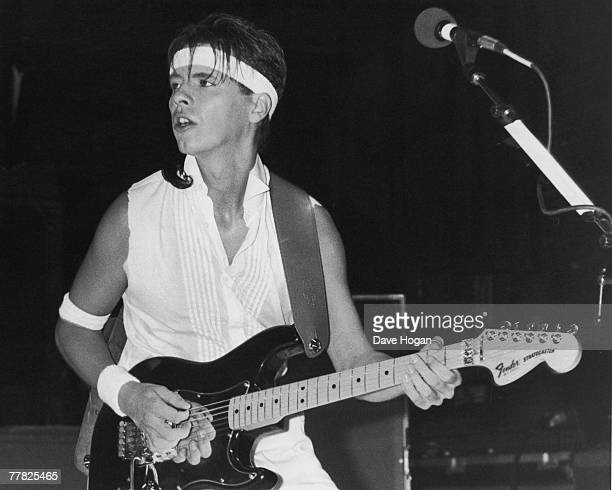 Guitarist Andy Taylor performing in Manchester with new romantic pop group Duran Duran 6th December 1983