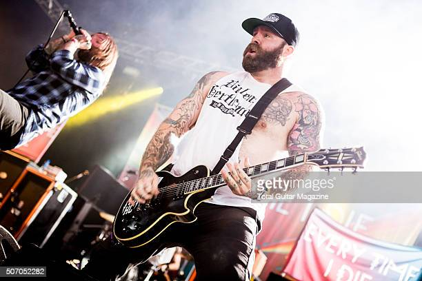 Guitarist Andy Williams and frontman Keith Buckley of American hard rock group Every Time I Die performing live on the Maverick Stage at Download...