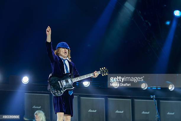 Guitarist Angus Young of AC/DC performs at ATT Park on September 25 2015 in San Francisco California