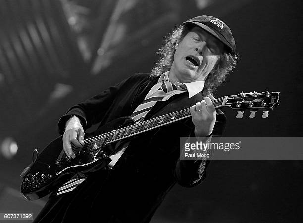 Guitarist Angus Young of AC/DC performs during the AC/DC Rock or Bust Tour Washington DC at the Verizon Center on September 17 2016 in Washington DC