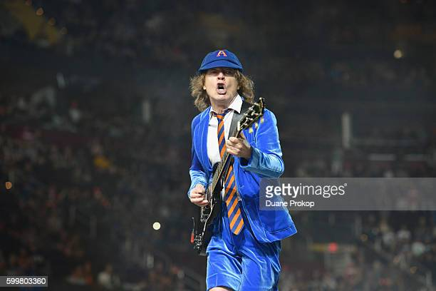 Guitarist Angus Young of AC/DC performs live onstage during the Rock Or Bust Tour at Quicken Loans Arena on September 6 2016 in Cleveland Ohio