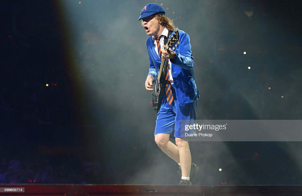 Guitarist Angus Young of AC/DC performs live onstage during the Rock Or Bust Tour at Quicken Loans Arena on September 6, 2016 in Cleveland, Ohio.