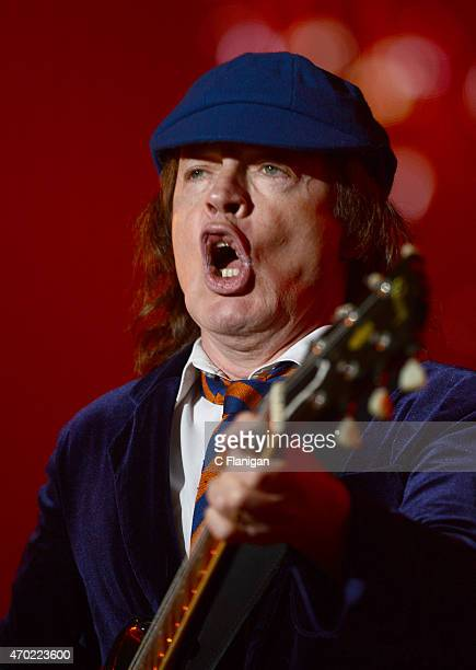 Guitarist Angus Young of AC/DC performs onstage during day 1 of the 2015 Coachella Valley Music And Arts Festival at The Empire Polo Club on April 17...