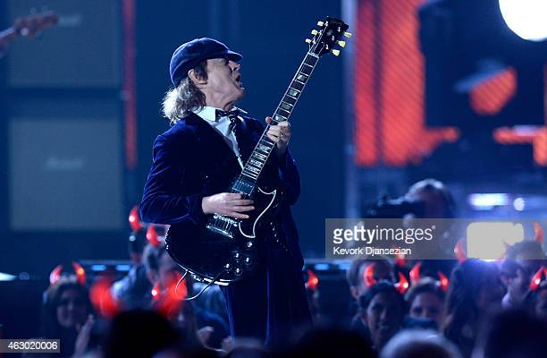 Guitarist Angus Young of AC/DC performs onstage during The 57th Annual GRAMMY Awards at the at the STAPLES Center on February 8, 2015 in Los Angeles,...