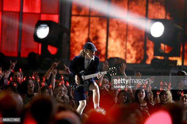 Guitarist Angus Young of AC/DC performs onstage during The 57th Annual GRAMMY Awards at STAPLES Center on February 8 2015 in Los Angeles California