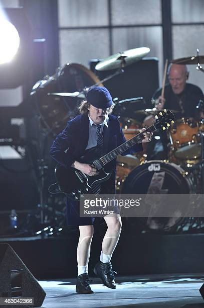 Guitarist Angus Young of AC/DC performs onstage during The 57th Annual GRAMMY Awards at the STAPLES Center on February 8 2015 in Los Angeles...